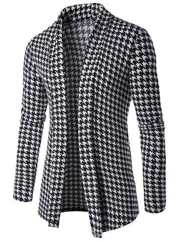 Fashion Houndstooth Knitted Open Front Cardigan BLACK 2XL