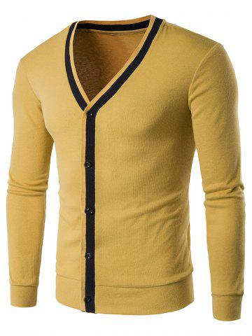Yellow M Button Up V Neck Contrast Trim Cardigan | RoseGal.com