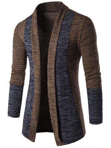 Cheap Space Dye Contrast Panel Open Front Cardigan - L COFFEE Mobile