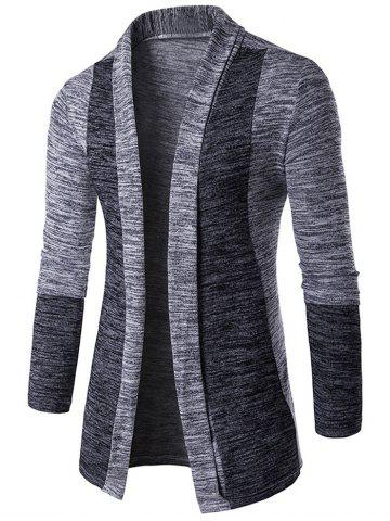 Space Dye Contrast Panel Open Front Cardigan - Light Gray - M
