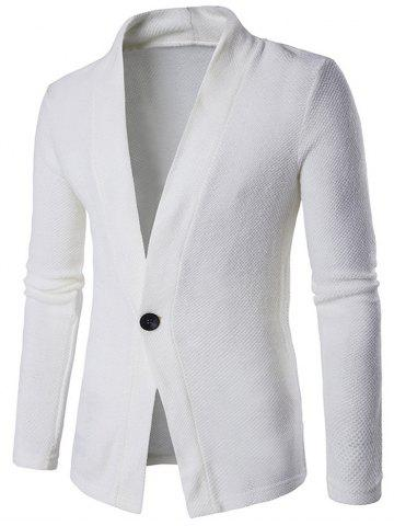 Latest Knitted Texture One Button Cardigan WHITE 2XL