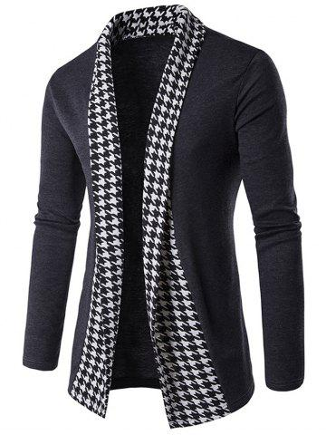 Unique Knitted Houndstooth Open Front Cardigan GRAY 2XL