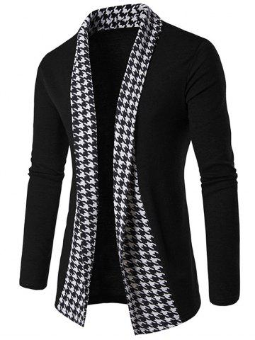 Store Knitted Houndstooth Open Front Cardigan - XL BLACK Mobile