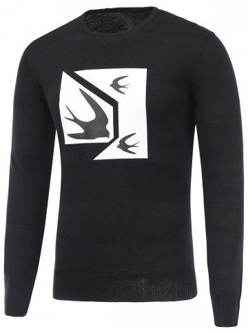 Discount Swallow Print Crew Neck Pullover Sweater