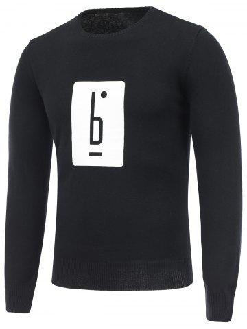 Cheap Long Sleeve Crew Neck Graphic Sweater BLACK 2XL