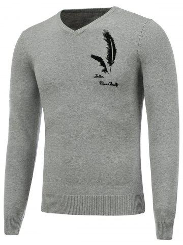 Affordable Long Sleeve V Neck Feather Graphic Sweater GRAY 2XL