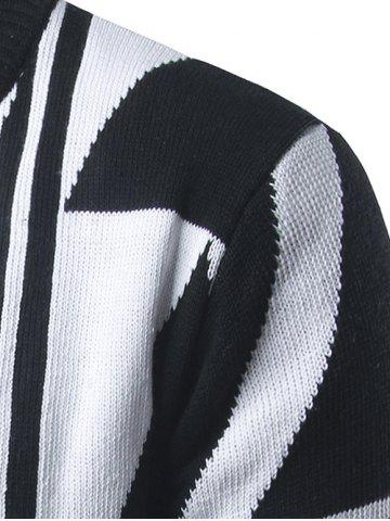 Store Geometric Pattern Open Front Cardigan - 2XL WHITE Mobile