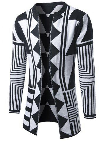 Discount Geometric Pattern Open Front Cardigan - 2XL WHITE Mobile