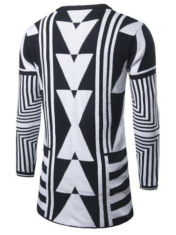 Outfits Geometric Pattern Open Front Cardigan - 2XL WHITE Mobile