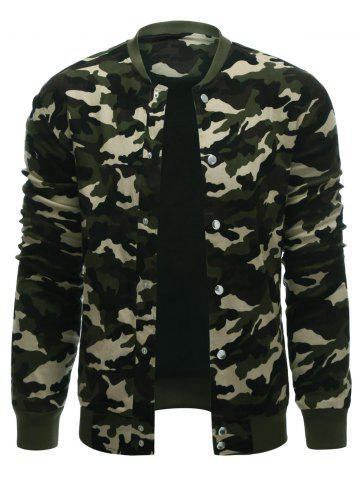 Store Rib Cuff Snap Button Up Camo Jacket CAMOUFLAGE COLOR XL