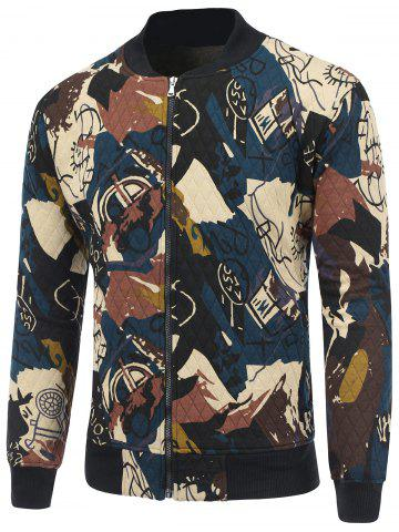 Discount Abstract Print Zip Up Quilted Jacket CADETBLUE 2XL