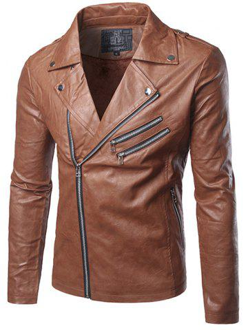 Multi Zipper Epaulet Design Flocking Faux Leather Jacket - Brown - 2xl