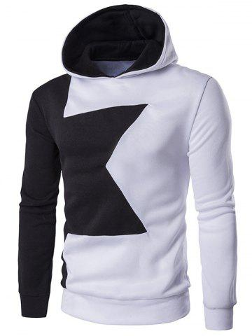 Outfit Long Sleeve Two Tone Pullover Hoodie WHITE 2XL