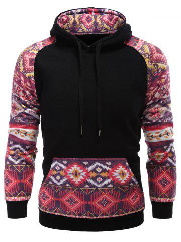 Discount Pocket Tribal Print Panel Raglan Sleeve Hoodie BLACK XL