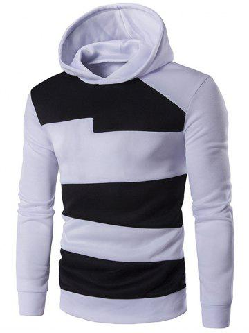 Fancy Long Sleeve Contrast Panel Pullover Hoodie WHITE 2XL