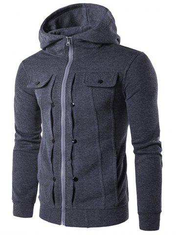 Latest Buttoned Pleat Zip Up Hoodie DEEP GRAY 2XL