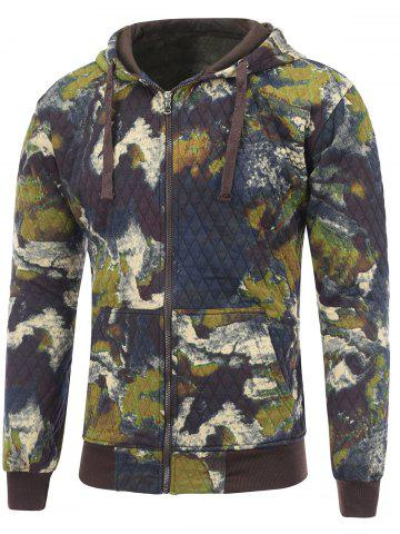 Latest Printed Pocket Zip Up Quilted Patterned Hoodies DEEP BLUE 2XL