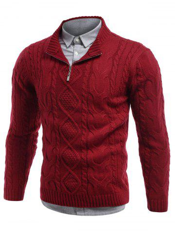 Hot Cable Knit Stand Collar Half Zip Sweater RED 2XL