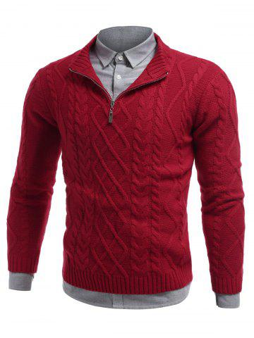 New Stand Collar Cable Knit Half Zip Sweater RED 2XL
