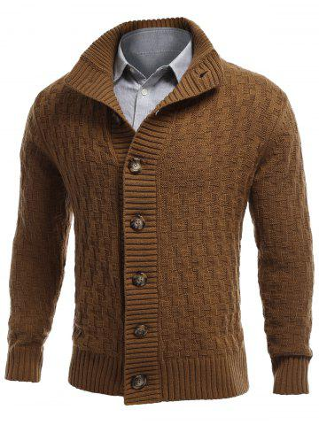 Online Stand Collar Button Front Basket Weave Cardigan EARTHY 2XL