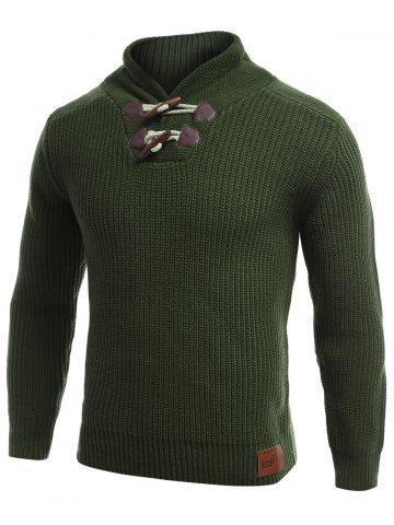 Trendy Flat Knitted Pullover Toggle Sweater GREEN 2XL