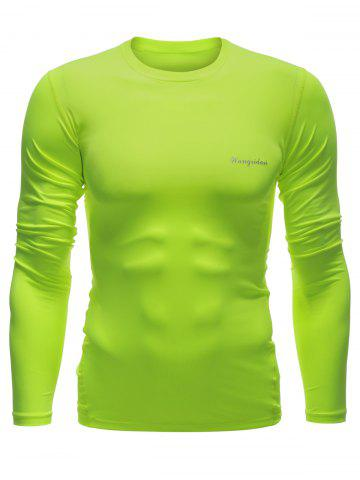Store Quick Dry Long Sleeve Crew Neck Sports T-Shirt NEON GREEN XL