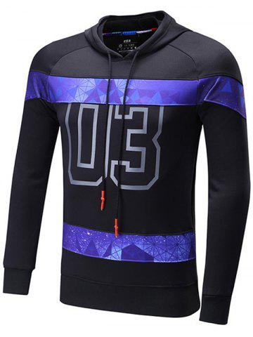 Buy Starry Sky Spliced Number Print Raglan Sleeve Sports Hoodie BLACK 2XL