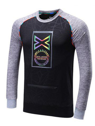 Best Colorful Edging Graphic Print Raglan Sleeve Sports Sweatshirt