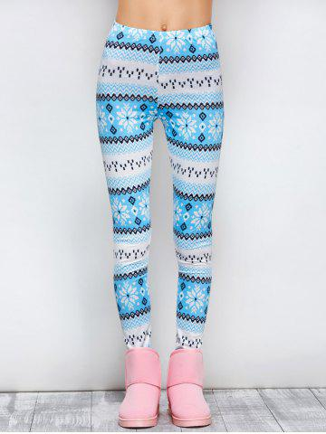 Outfits Tight Snowflake Print Christmas Leggings BLUE XL