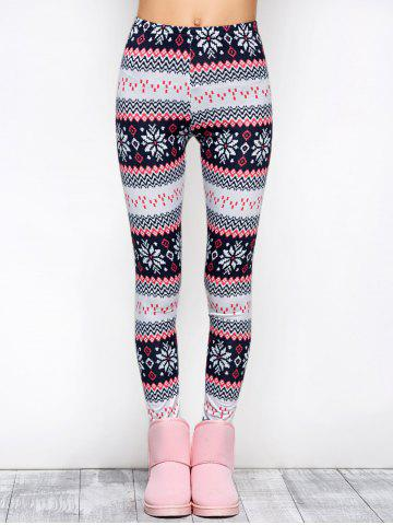 Cheap Tight Snowflake Print Christmas Leggings - M RED Mobile
