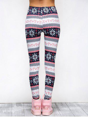 Affordable Tight Snowflake Print Christmas Leggings - M RED Mobile