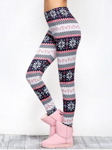 Store Tight Snowflake Print Christmas Leggings - M RED Mobile