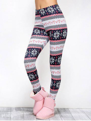 New Tight Snowflake Print Christmas Leggings - M RED Mobile
