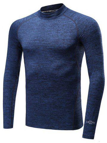 Sale Roll Neck Quick Dry Raglan Sleeve Fitness T-Shirt