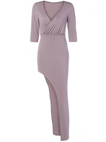 Outfits Surplice Asymmetrical Long Night Out Dress LIGHT PINK L