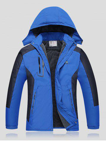 Fashion Plus Size Thicken Detachable Hooded Color Block Polyester Jacket BLUE 4XL