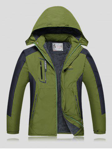 Plus Size Thicken Detachable Hooded Color Block Polyester Jacket - Army Green - 3xl