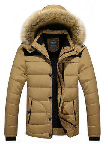 Buy Faux Fur Collar Hooded Plus Size Zip Up Thicken Quilted Jacket