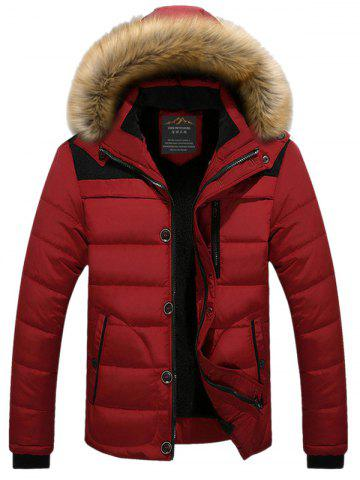 Faux Fur Collar Hooded Plus Size Zip Up Thicken Quilted Jacket - Red - 2xl