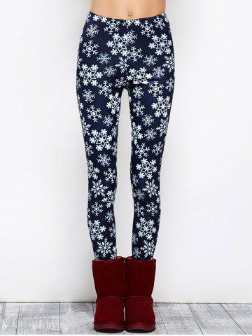 Outfits Snowflake Print Stretchy Christmas Leggings PURPLISH BLUE L
