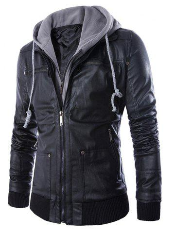 Hot Faux Twinset Hooded Double Zipper PU Leather Jacket BLACK 2XL