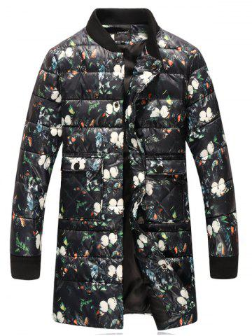 Fancy Stand Collar Flowers Print Plus Size Thicken Lengthen Quilted Coat