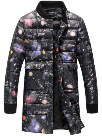 Outfits Plus Size Colorful Starry Sky Print Thicken Lengthen Quilted Coat