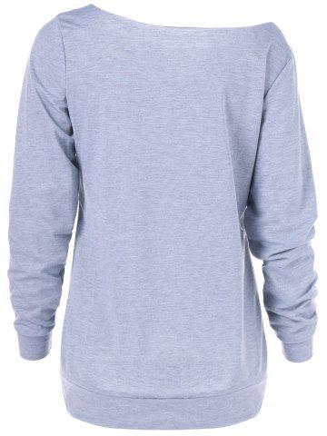 Store Graphic Skew Collar Pullover Sweatshirt - M GRAY Mobile