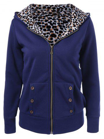 Store Plus Size Zipper Leopard Pullover Hoodie