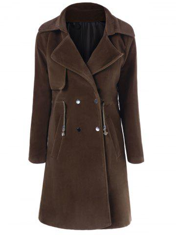 Shops Drawstring Double Breasted Lapel Coat