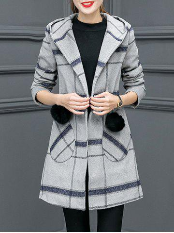Grid Drawstring Wool Blend Hooded Coat - Gray - M