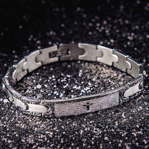 Shop Silver Letter Cross Embossed ID Bracelet SILVER