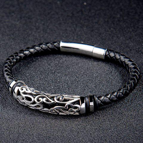Fashion Hollowed Faux Leather Braid Bracelet - BLACK  Mobile