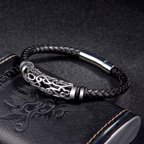 Fancy Hollowed Faux Leather Braid Bracelet - BLACK  Mobile
